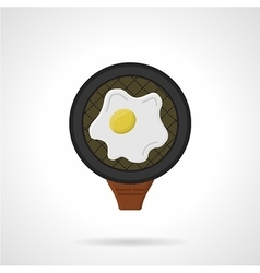 Fried egg flat colored icon vector image vector image