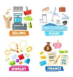 selling jewelry finance and flight items vector image vector image