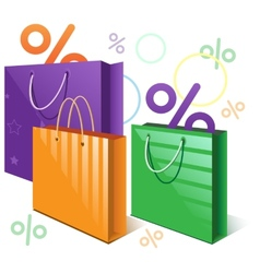 Shopping bags and falling interest vector image vector image