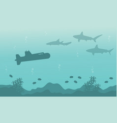 silhouette of submarine and shark landscape on sea vector image