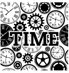time watch gears cog black and white background ve vector image