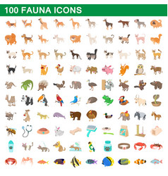 100 fauna icons set cartoon style vector image