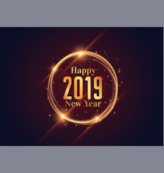 2019 happy new year shiny background design vector