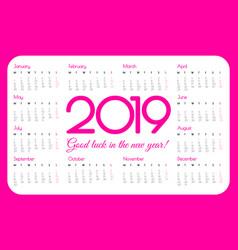 2019 year pocket calendar pink color simple vector