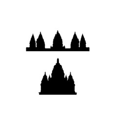 A collection of silhouettes of indonesian temples vector