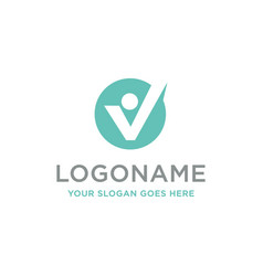 abstract v man and checkmark logo icon template vector image