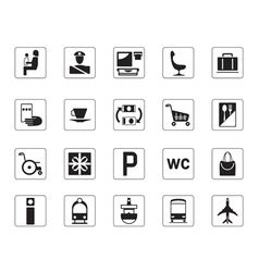 Airport bus station and railway station icons set vector