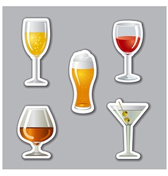 Alcohol drinks stickers vector