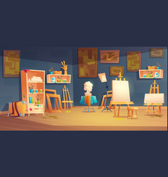 Art classroom with easels paints and brushes vector