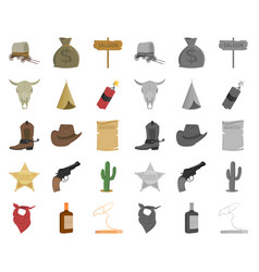 attributes of the wild west cartoonmono icons in vector image