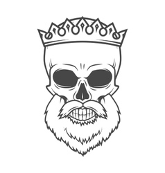 Bearded Skull with Crown design element Dead King vector image