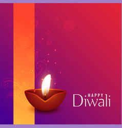 beautiful of burning diwali diya vector image