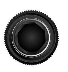 Black camera lens open icon vector