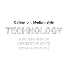 black handmade font in the outline style vector image