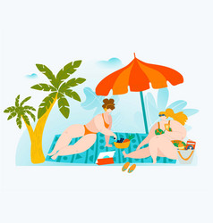 body positive summer vacation big people vector image