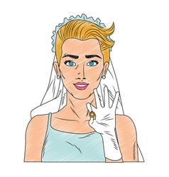 Bride pop art cartoon scribble vector