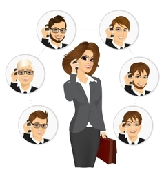 Businesswoman calling business contacts vector