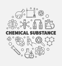 Chemical substance concept round outline vector