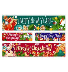 christmas new year holidays greeting banner vector image