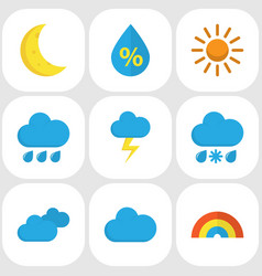 climate flat icons set collection of bow rain vector image
