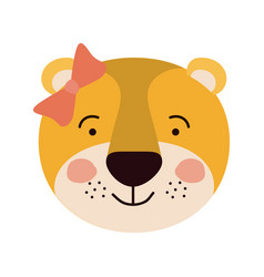 Colorful caricature cute face of female lioness vector