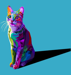 colorful cat isolated on blue background vector image