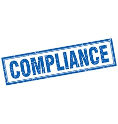 Compliance blue square grunge stamp on white vector