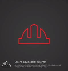 Construction helmet outline symbol red on dark vector