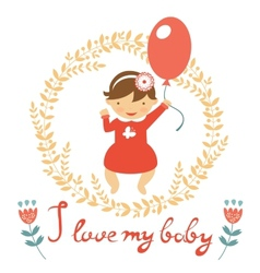 Cute baby girl with balloon vector