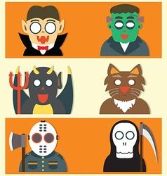 Cute Halloween Monsters Flat Cartoon vector image