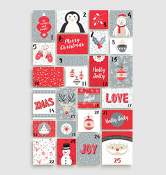 Cute merry christmas advent calendar for holiday vector