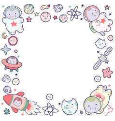 cute space frame with japanese kawaii cat travels vector image