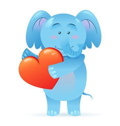Cute toy Elephant pet isolated holding heart vector