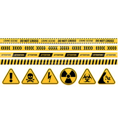 Danger ribbon and sign attention poison high vector