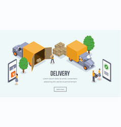 delivery isometric landing page template vector image