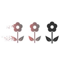 Disintegrating pixel halftone flower plant icon vector