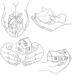 drawn humans hands holding house vector image