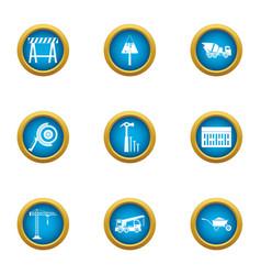 Fabrication icons set flat style vector