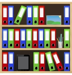File folders standing on the shelves at office vector
