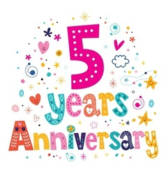 Five years anniversary celebration decorative vector