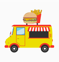 Food truck with burger and french fries vector