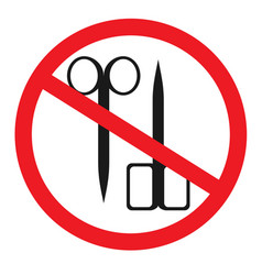 forbidden sign with scissors glyph icon no vector image