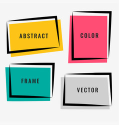four abstract colorful frame set vector image