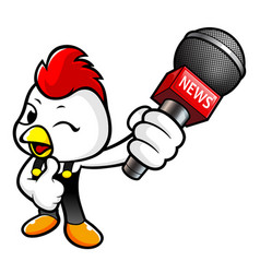Funny chicken character point a microphone vector