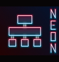 Glowing neon line site map icon isolated on black vector