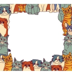 Group Cats frame border isolate on white vector