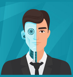 half cyborg half human man businessman vector image