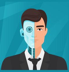 half cyborg human man businessman vector image