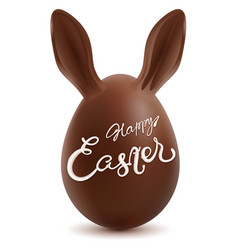 Happy easter chocolate egg with rabbit ears vector