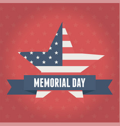 happy memorial day flag shaped star emblem red vector image